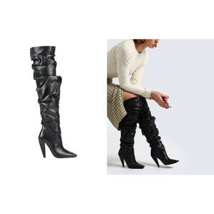 TOM FORD New 35 5 Black Leather Knee High Boots